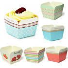 100pcs Xmas Square Muffin Cupcake liner Cake Mould Standing Paper Baking Cups