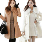 Sexy Women Slim Wool Faux Fur Trench Parka Double-Breasted Winter Coat Jacket