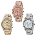 Faux Chronograph Quartz Plated Classic Round Ladies Women Crystals Watch T04S