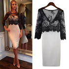 Women Sheer Lace Splicing Long Sleeve Bodycon Clubwear Cocktail Party Dress