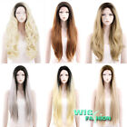 "18""-28"" Long Dark Black Roots Blonde Gray Brown Lace Front Synthetic Wig Heat OK"