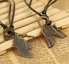 1X Vintage Style Angel Wing Cross Leather Word Letter Necklace Punk Cool 20~40cm