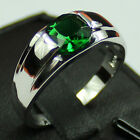 Size 8-12 Jewelry Men Stainless Steel Silver Square Green Emerald Solitaire Ring