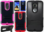 For Motorola Moto X 2nd Gen Hybrid Silicone Rubber Skin Case Kick Stand Cover