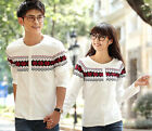 Women Men Long Round Collar Sleeve Blouse Tops Lovers Couple Clothes T Shirt