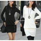 Fashion Autumn Winter Womens Long Sleeve Bodycon Slim Fit Office Casual Dress