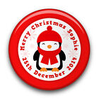 Personalised Girl OR Boy's CUTE PENGUIN Christmas Badge (58mm)