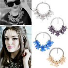 Charm Flower Chain Crystal Acrylic Choker Chunky Statement Bib Collar Necklace