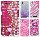 For T-Mobile ZTE ZMAX Z970 Crystal Diamond BLING Case Phone Cover + Screen Guard