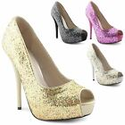 Ladies High Heel Platform Womens Peep Toe Glitter Stiletto Court Shoes Size 3-8