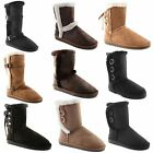 Ladies Red Rock Flat Faux Furry Lined Warm Winter Womens Moon Boots Shoes