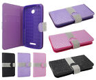 For HTC Desire 510 Premium Bling Diamond Wallet Case Pouch Cover + Screen Guard