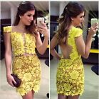 Women Backless Bandage Bodycon Lace Evening Sexy Party Cocktail Mini Dress - CB