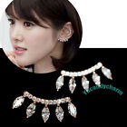 Made in Korea Eyelashe Curve Style CZ Oval gem earring studs SET Gold or Silver
