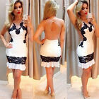 Women Gauze Splicing Lace Embroidery Long Sleeve Cocktail Mini Dress Reliable
