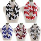 NEW Fashion Womens Winte Soft Jersey Knit Zig Zag Chevron Infinity Scarf Scarves