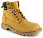 New Womens/Ladies Ash/Tan Leather Cat Tough Rugged Work Style Boots UK SIZES