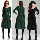 Women Autumn Winter Long Sleeve Casual Work Pleated Knit Slim Sweater Dress Belt