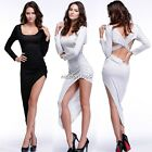 Women Long Sleeve Cocktail Backless High Low Bodycon Swallow Tail Dress Bandage