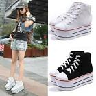 Women Girl High Top Heel Canvas Lace Up Platform Wedge Sneaker Sport Shoes Boot
