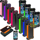 Film + Hybrid Rubber Matte Shockproof Hard Case Cover For iPhone 4S 5S 6S Plus