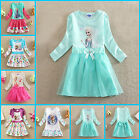 UK-0525 New Fancy Frozen Anna Elsa Costume Party Princess Girls Dress Age 3 -8