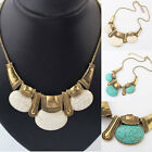 Crystal Jewelry Turquoise Bib Necklace Chain Statement Pendant Chunky Choker