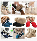 New Women Winter Warm Fur Snow Ankle Boots Suede Bowknot Mid calf Flat Shoes