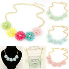 Womens Crystal Flowers Candy Color Statement Collar Chain Bib Necklace Pendant
