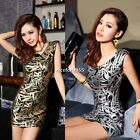 Womens Ladies Sleeveless Leave Print Pleated Bodycon Stretch Mini Party Dress N4