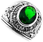 Emerald Green US Army Military Silver Rhodium EP Mens Ring