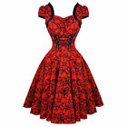 Herzen & Rosen London Rot Tätowierung 1950s Rockabilly Vintage Party Kleid