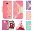 LG Optimus Exceed 2 VS450 Leather Lace Pattern Wallet Case Pouch Phone Cover