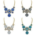 Womens Crystal Sunflower Statement Bib Necklace Chunky Collar Fashion Jewelry
