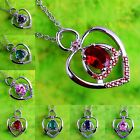N/R Rainbow & Green & Pink Topaz & Ruby Spinel Gemstone Silver Pendant Necklace