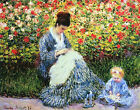 Camille and Child in the Garden by Claude Monet Canvas Art Print Painting Repro