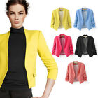 S M L New Women's Popular Candy Color Short Slim 3/4 Sleeve Suit Blazer Coat