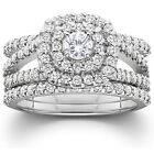 1.25 CTTW Genuine Diamond Engagement Cushion Halo Ring Set 10K White Gold