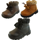 Infant Baby Boys Faux Fur Lined Warm Lace Zip Kids Ankle Boots Size 3 4 5 6 7