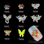 10x Hot 3D Butterfly Nail Art Stickers Alloy Jewelry Glitter Rhinestone Nail DIY
