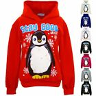 Girls Hooded Stay Cool Christmas Penguin Children's Pull Over Hoodie Sweatshirt