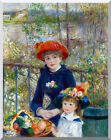 Pierre Auguste Renoir Stretched Two Sisters on the Terrace Repro Wall Art Print