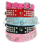 Suede Leather Dog Collar Diamante 3 Rows Crystal Rhinestones 5 Colors XS/S/M/L