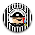Personalised Pirate Boy's Happy 1st 2nd 3rd Birthday Party Badge (58mm)