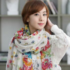 New Fashtion Women's Floral Cotton Blend Soft Voile Beach Scarf Wrap Shawl Stole