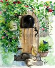 Welcome Country Door Kitty Cats On Steps Black Gray Stripe Yellow Art Print