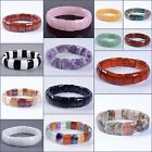 """15mm Faceted rectangle gemstone beads stretchable bracelet 7.5"""""""