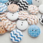 New 100/500pcs Line Wood Buttons 20mm Sewing Craft Mix Lots