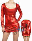 Sexy Shiny Metallic Red Long Sleeve Scoop Neck Fetish Clubwear Dress S-3XL