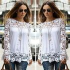 Hot!Fashion Women Sheer Sleeve Embroidery Lace Crochet Tee Chiffon Shirt Blouse